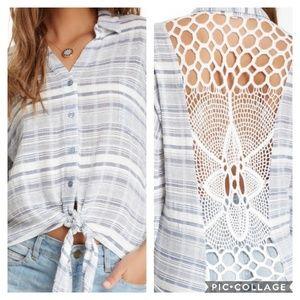 Blu Pepper | Linen Stripe Crochet Back Cropped Top